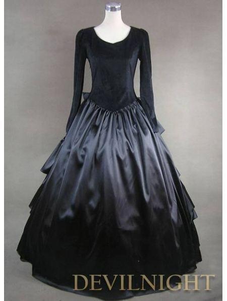 Vintage Black Velvet and Satin Simple Gothic Ball Gowns Antique Victorian Dressing Table(China (Mainland))