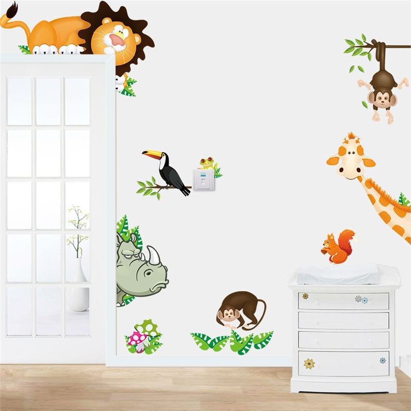 Animal wall stickers for kids room zooyoocd001 baby room for 3d wallpaper for baby room