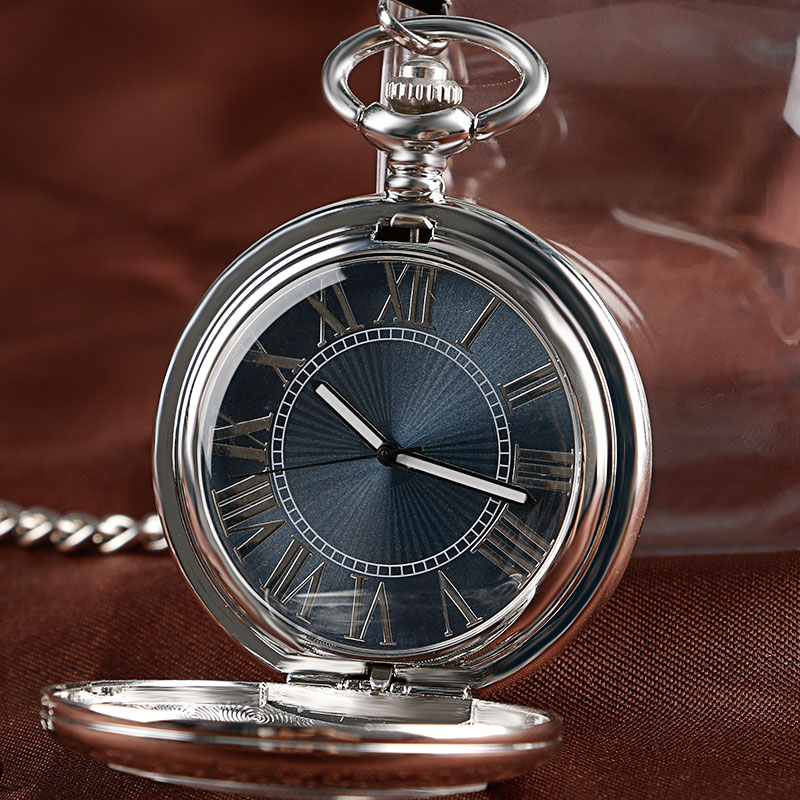 Silver Pocket Watch Vintage Watch Necklace Chain Elegant Nurse Clock Steampunk Gray Dial Pendant Automatic Mechanical Women Men(China (Mainland))