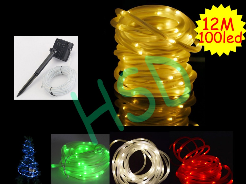 Transparent tube 12M 100 LED Outdoor Solar Lamps LED String Light Copper wire Fairy Holiday Christmas Garlands Garden Waterproof(China (Mainland))