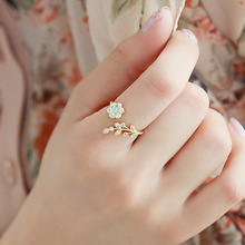 Twisted Midi Finger Champagne Rhinestone Leaves Wishful Opening Ring Flower Accessories Free Shipping
