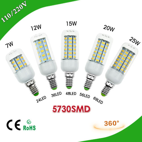 1Pcs SMD 5730 E14 3W 5W 7W 12W 15W 20W 25W LED Corn Bulb 220V 24LED 36LEDs 48LEDs 56LEDs 69LEDs LED lamp Chandelier Spot light(China (Mainland))