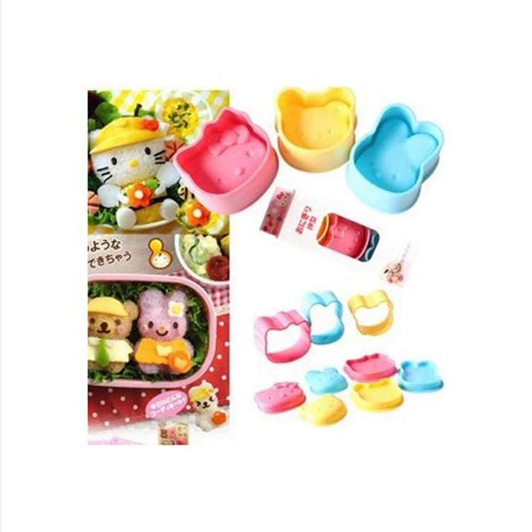 Wholesale helloKITTY rabbit + Bear + cat sushi rice mold set three children love(China (Mainland))