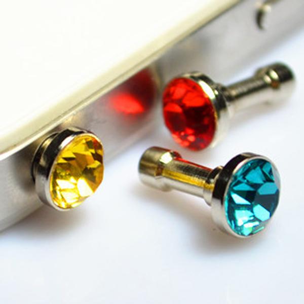 5Pcs/Lot Mixed Color Luxury Phone Accessories Small Diamond Rhinestone 3.5mm Anti Dust Plug Dustproof Plugs For Cell Phone(China (Mainland))