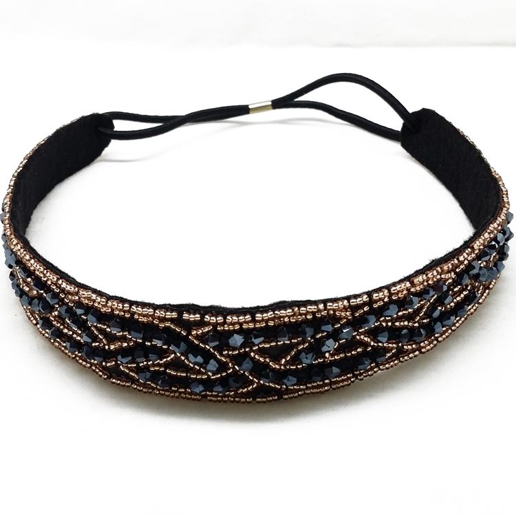 wholes retail Europe and USA style glass beads and glass seed bead elastic headband of women Hair Accssories Free shipping(China (Mainland))