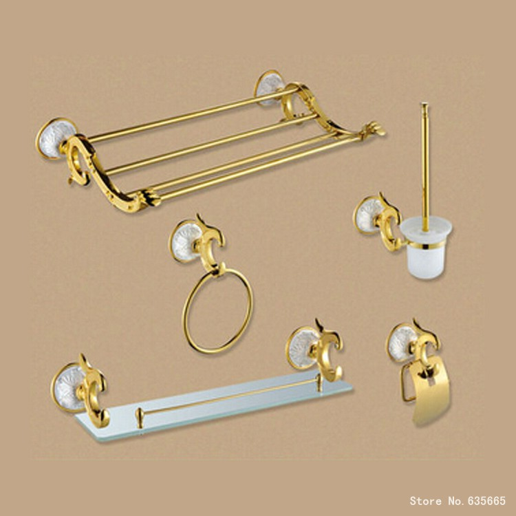Luxury Antique Art Gold Bathroom Hardware Hanger Set Towel Rack Ring Paper Holder Brush Glass Shelf Sanitary Discount Package(China (Mainland))