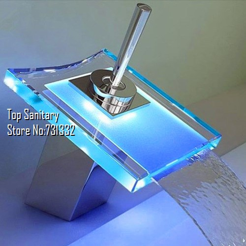 TB2028 LED light Waterfall Basin FAUCET Chrome polished tap RGB color change temperature control torneira banheiro hansgrohe(China (Mainland))