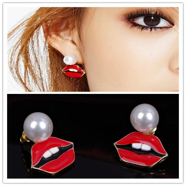 Korean Style Earrings Big Pearl Sexy Red Lips Earrings Cute Rabbit Teeth Fine Jewelry Gifts For