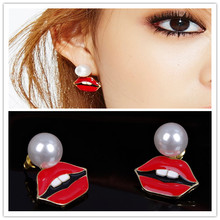 Korean Style Earrings Big Pearl Sexy Red Lips Earrings Cute Rabbit Teeth Fine Jewelry Gifts For Woman ED093
