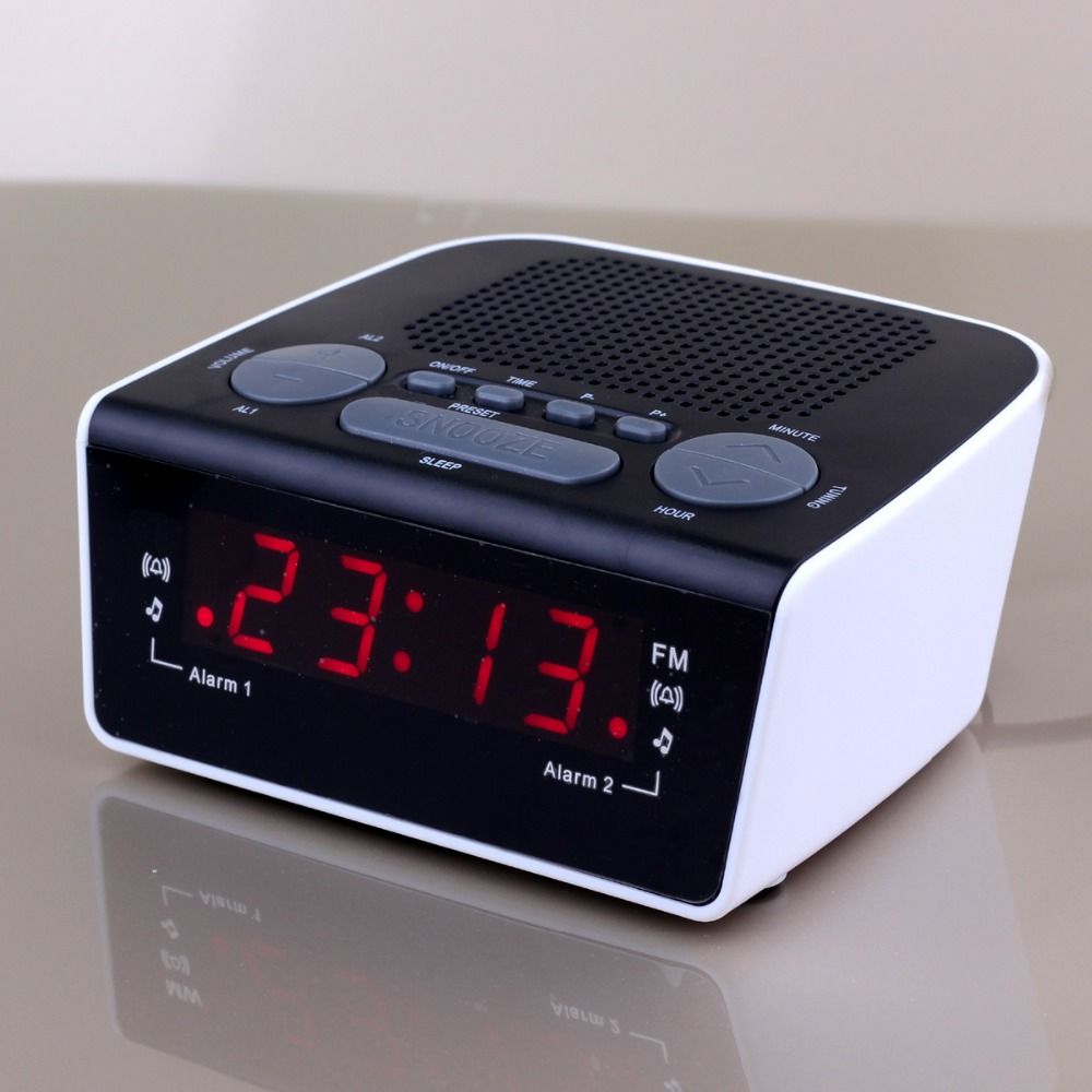 0 6 inch led digital radio alarm clock dual alarm fm tuner and digital pll frequency tuning in. Black Bedroom Furniture Sets. Home Design Ideas