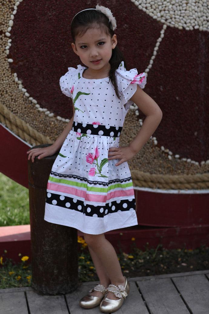 Girl dress flower party summer Baby girl dress Princess Polka Dot lovely children clothes Bowknot robe bebe vetement fille nina(China (Mainland))
