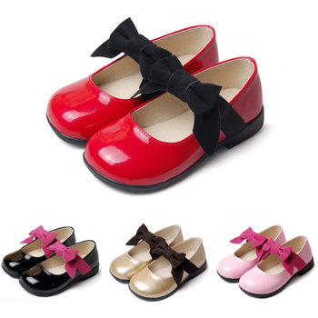 New Arrival Fashion Bow Leather Shoes For Baby Girls Patent Leather Casual Shoes Cute Lovely Princess Toddler Free Shipping
