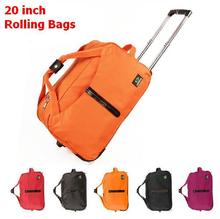 High Quality 20 inch silent wheels rolling luggage waterproof duffle bags travel trolley boarding bag with a lock large 5 colors(China (Mainland))