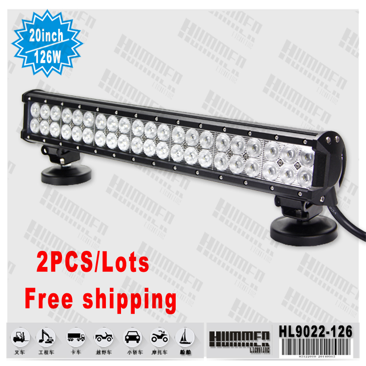 2x 20inch 22inch 24INCH 144W CREE LED WORK LIGHT BAR dual row Headlights FLOOD SPOT OFFROAD LAMP SECKIL 120W/126W 12V 24V(China (Mainland))