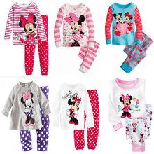 baby boy girls clothes children clothes Sweet 2pcs Minnie Mickey Mouse Dot Kids Girls Love Nightwear Pajamas Sleepwear Suit(China (Mainland))