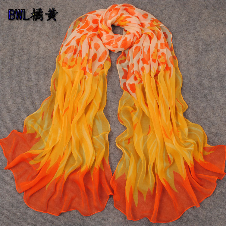 2014Fashion Apparel Accessories Women Long Silk Scarf Printed 170*70cm New Style Brand Chiffon Polyester Yellow Scarf For Winter(China (Mainland))
