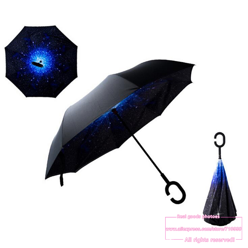 2016 Creative High Quality Fashion nano fabric C Handle Cell Phone sky reverse kazbrella handfree sun umbrella rain women(China (Mainland))