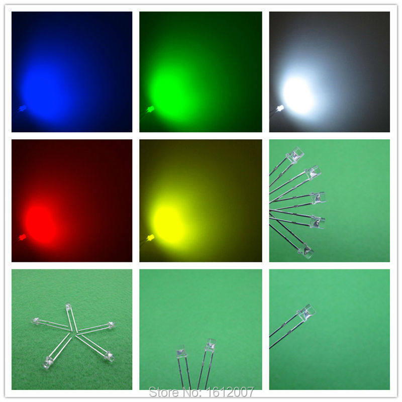 Led 3MM flat top 5 Colors 20 pcs each red blue green yellow Wide Angle Urtal Bright Light Bulb Led Lamp 3MM Emitting Diodes(China (Mainland))
