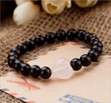 Natural Black Agate Heart-shaped Crystal Powder Mixing Type Chain Bead Men Women Lovers Bracelet Lotus Crystal Jade Jewelry(China (Mainland))