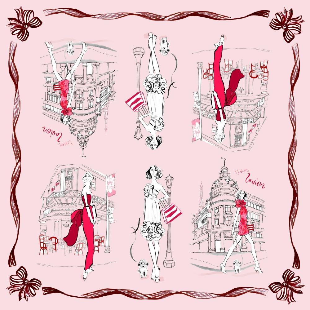 Modern Girl Print 100% Silk Twill Scarf ,Women's Square Silk Scarves Wraps Shawl 90x90cm Charming Accessory(China (Mainland))