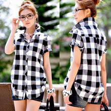 British Style Plus Size Clothing New Summer Female Loose Plaid Shirt Cotton Short-Seeve Blouse Free Shipping