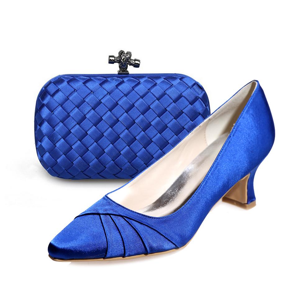 Royal Blue Kitten Heel Shoes