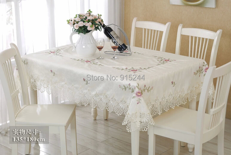 pure white cotton satain table Cloth lace embroidery square table cover Roundtable ...