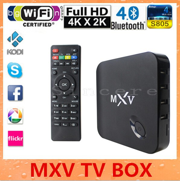 MXV Android TV Box Quad Core Amlogic S805 1G/8G 1.5 GHZ Android 4.4 KODI Cloud TV WIFI Bluetooth H.265 Set Top Box Smart Mini PC(China (Mainland))