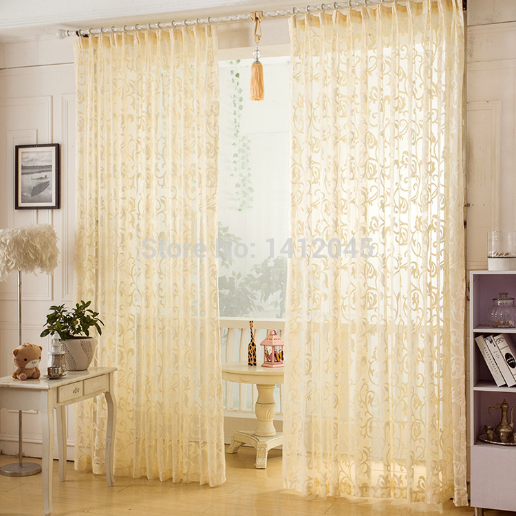 high quality window screening modern luxury sheer curtains for living room the bedroom tulle embroidered voile curtains in stock(China (Mainland))