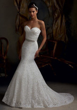 Buy C.V Sexy Elegant Lace Mermaid Wedding Dress Small Fish Tail Slim Style Sashes Custom Made Trumpet Wedding Dresses 2017 New for $75.65 in AliExpress store