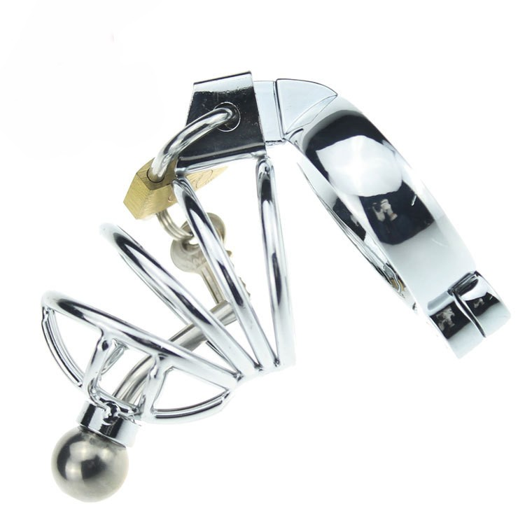 Male Metal Chastity DevicesCages with Urethral Catheter,Virginity Cock Cage with Lock,Penis Ring,Penis Lock,Adult Games,Sex Toy