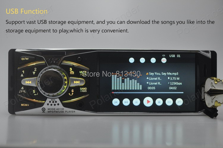 NEW 4 inch HD TFT screen car radio  MP3 MP4 MP5 12V audio player car stereo Support rear view camera USB/SD 1 DIN