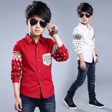 2016 Spring Long Sleeve Kids Boys Shirts Patterns Cotton White Casual Boy Shirt Child 10 Years Boys Blouses Children Clothing