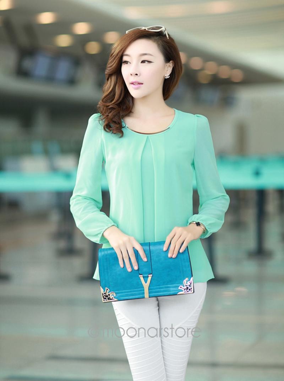 2015 Golden Articlesequins O-Neck Elastic Cuff Shirt for Spring/Autumn Blouse Tops Size S-M-L-XL-XXL-XXXL-XXXXL 7 Colors E3053(China (Mainland))