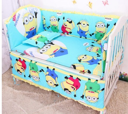 Promotion! 6pcs Minions baby bedding bed set baby crib bedding package ,include (bumpers+sheet+pillow cover)<br><br>Aliexpress