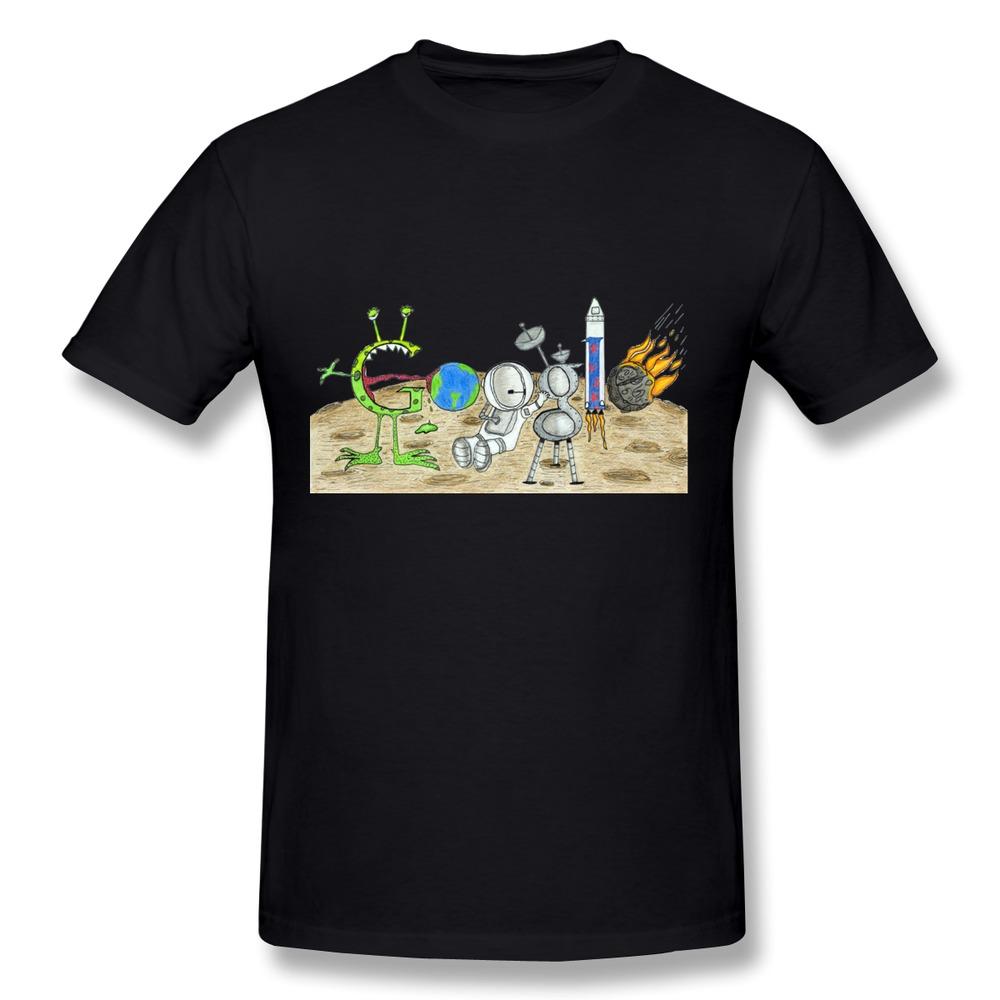 Cotton T Shirt Men Google Doodle Spaceman Astronauts Space