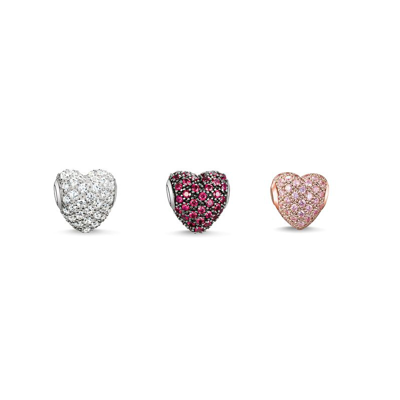Heart shape Rhinestone TS karma beads Metal silver plated rose gold women fashion trendy jewelry making Accessories - I .DORA Jewelry Factory Store store