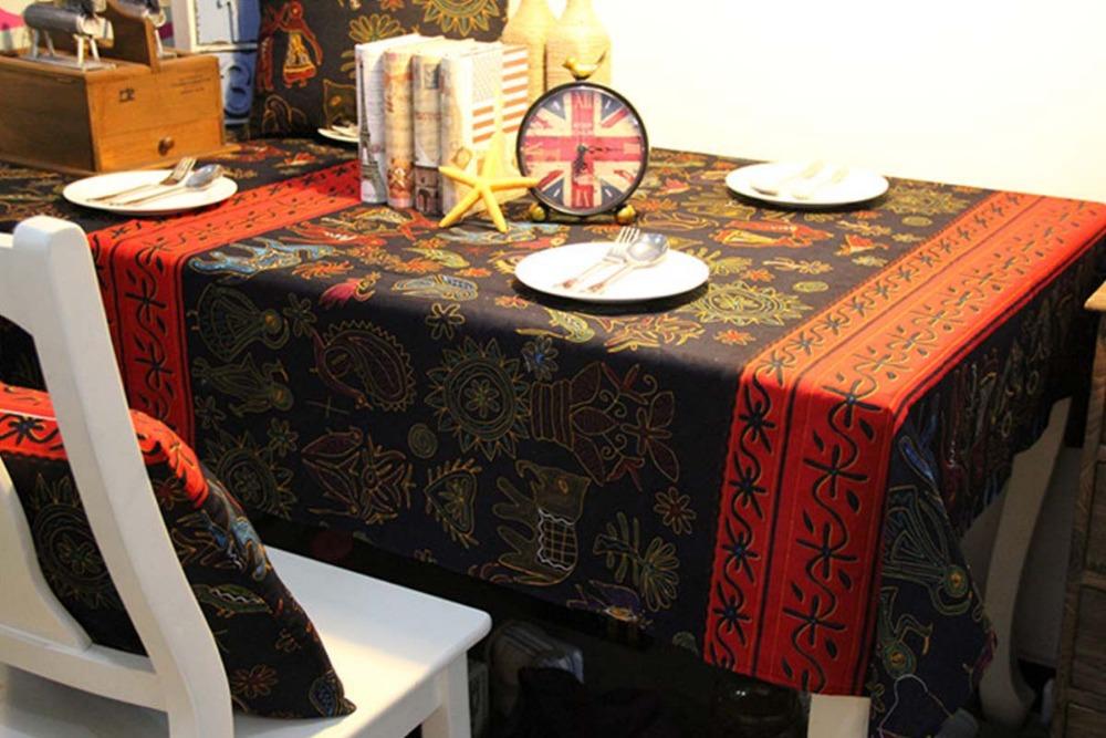 European Style 140*220cm Cotton and Linen Manteles Bordados Print Scenic Wedding Tablecloths Vintage Ethnic Crochet Tablecloth(China (Mainland))