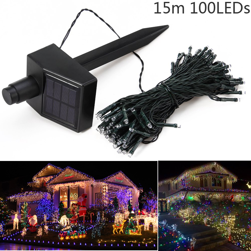 2016 Hot 15M 100 LEDs Solar Power Fairy Lights Holiday Lighting Xmas Holiday Party Outdoor Garden Tree Decoration String Lamp(China (Mainland))