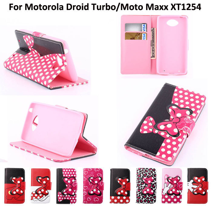 Leather Case For Motorola MOTO Droid Turbo XT1254 3D Cute Mickey Bow-knot Flip Stand Wallet Case PU Leather Cover Handbag(China (Mainland))