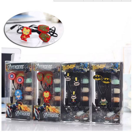 10pcs/lot Cartoon Batman in-ear Earphone Headset Cute Batman Earphones Earbuds for iPhone Cellphone Mp3 for Android &iOS 3.5mm(China (Mainland))