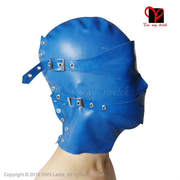 Latex Bondage Hoods blindfold mouth cover Rubber Masks Zipper lacing back buckle nose Headgear Fetish Latex Masks Rubber Hoods(China (Mainland))