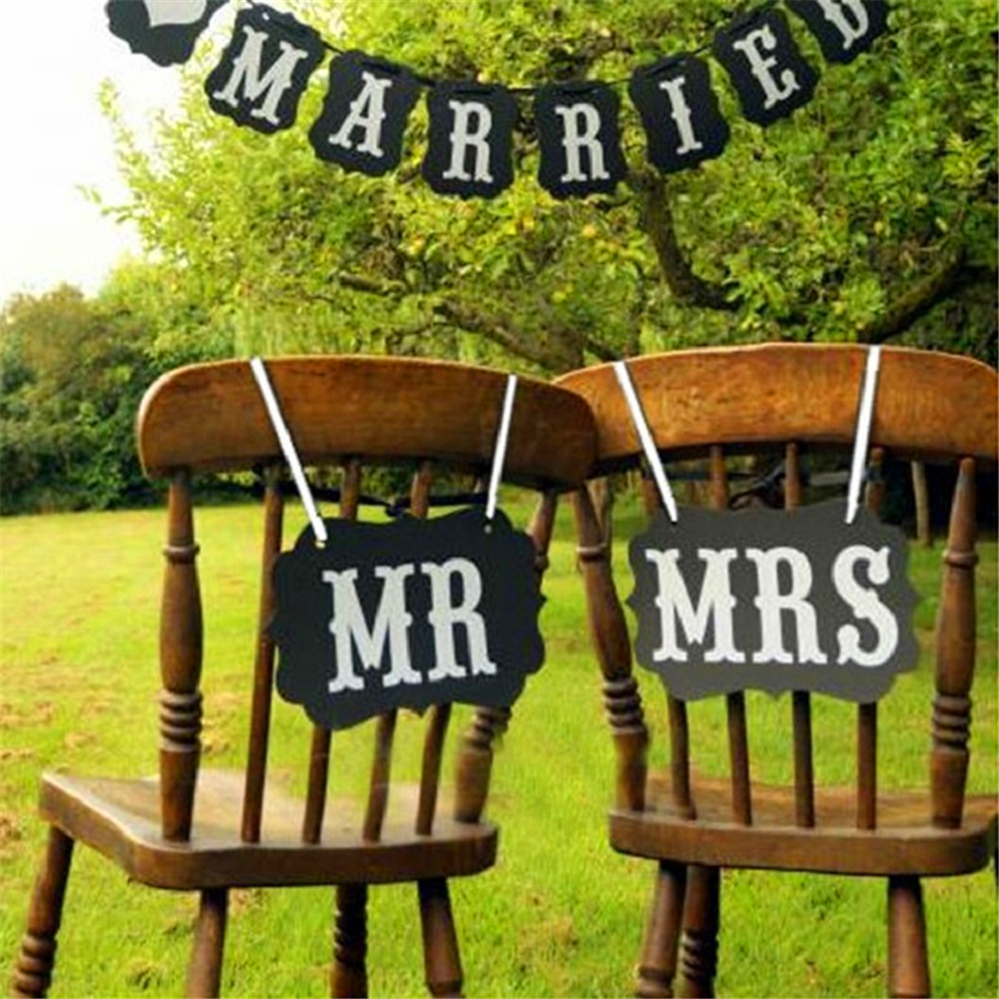 Photo Booth Mr&mrs Vintage Wedding Chair Signs Banner Bridal Party Decoration Bride Groom Bunting Garland Photobooth Props Sign(China (Mainland))