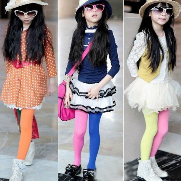 Trendy Candy Color Baby Girls Kids Two-colors Seamless Pantyhose Tights Stockings Dropshipping(China (Mainland))