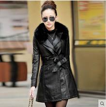 2015 new Haining genuine leather Fur collar and long sections plus cotton genuine leather jacket. Slim female fur coat AE586(China (Mainland))