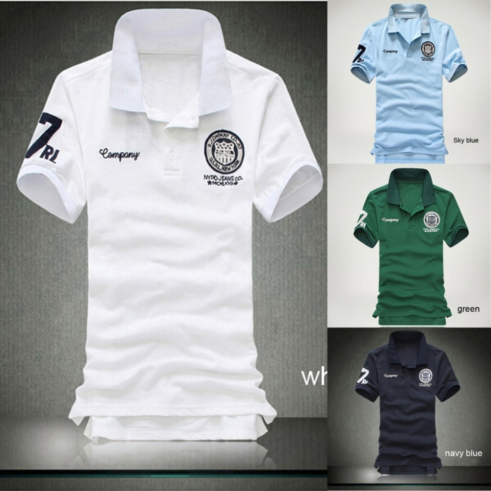 top sale 2015 men casual sport polofitness Man clothing fashion shirtsclassic summer style multicolor embroidery plus size POLO(China (Mainland))