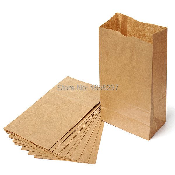 Set of 10 Kraft Paper Small Gift Bags Sandwich Bread Food Bags Party Wedding Favour Free Shipping 25X12.5X7.5cm(China (Mainland))