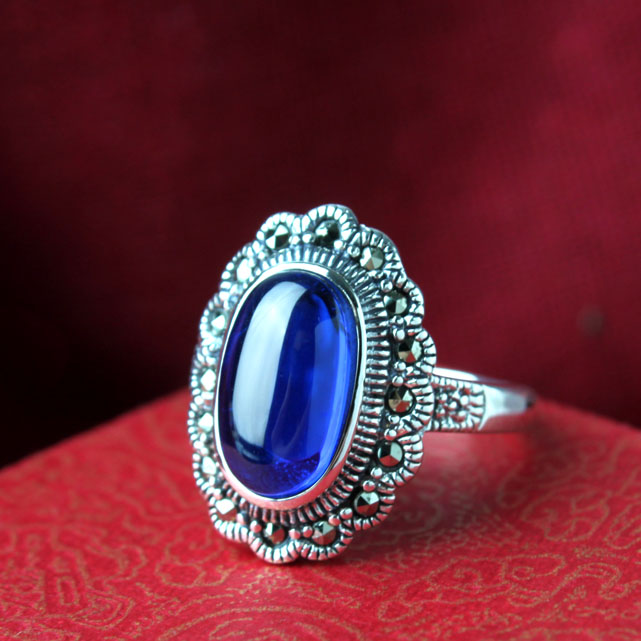 925 pure silver thai silver ring pomegranate blue zircon Women silver ring finger ring fresh(China (Mainland))