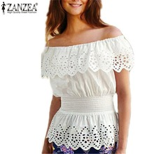 Buy ZANZEA 2017 Summer New Women Blouse Sexy Ruffles Shoulder Crochet White Tops Shirts Elegant Elastic Waist Blusas Plus Size for $6.39 in AliExpress store