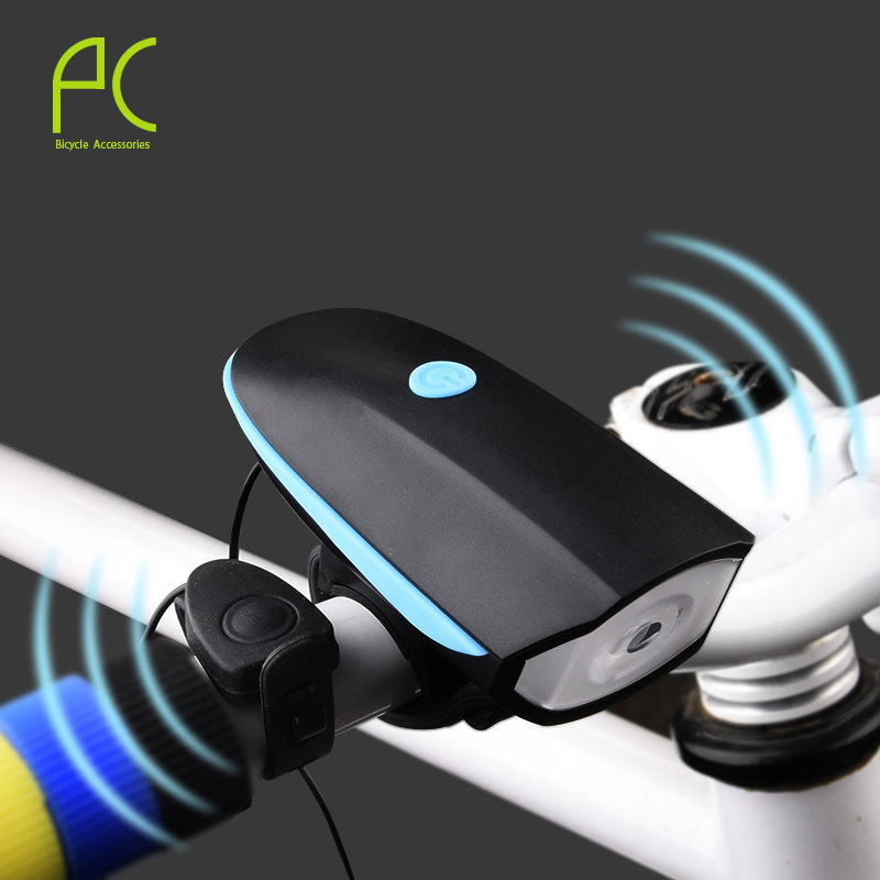 2016 PCycling Mountain Bike Electric Horn Bicycle Super Bright Headlights Vocal USB Charging Night Riding Cycling Light Bell(China (Mainland))